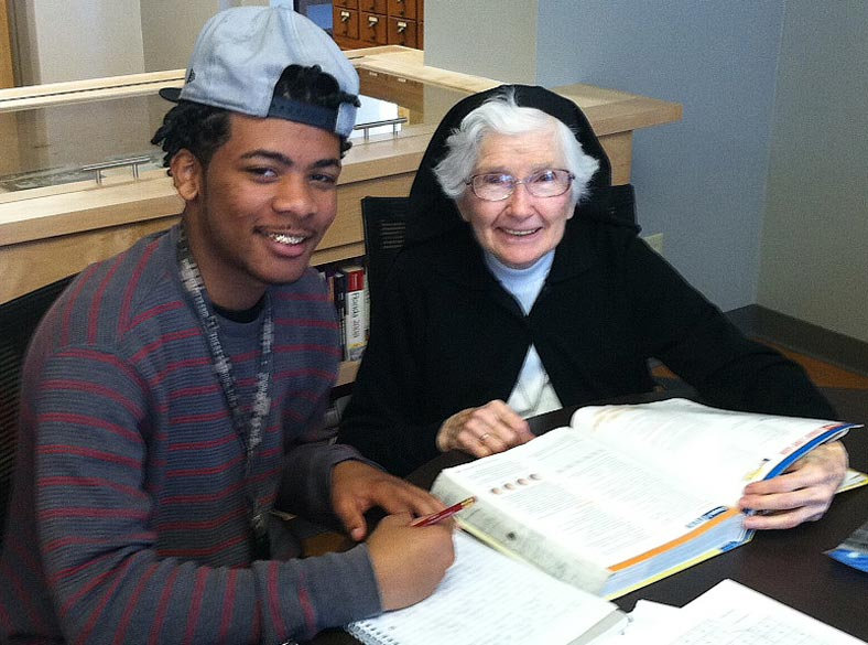 Sister Ferdinand and student